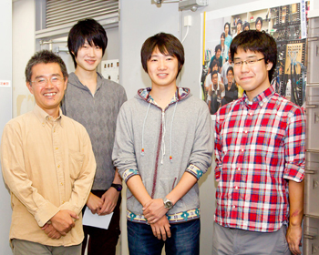 Participating students (L-R): Kenji Urai, Hirofumi Shin from Professor Hosoda's lab, Yuta Tsuchizaw